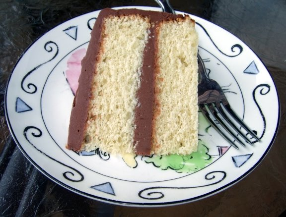 Golden Cake with Chocolate Sour Cream Frosting | Laura Rebecca's ...