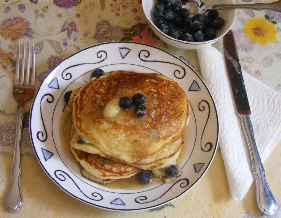 Blueberry Cornmeal Pancakes with Orange Maple Butter | Laura Rebecca's ...
