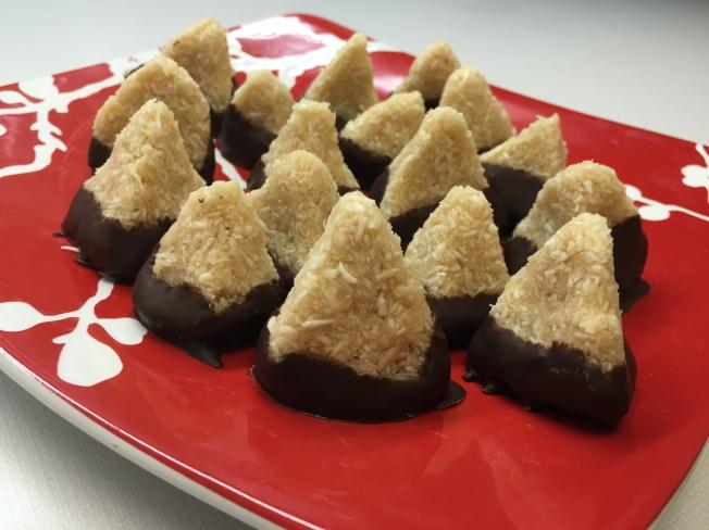 Chocolate dipped coconut pyramids